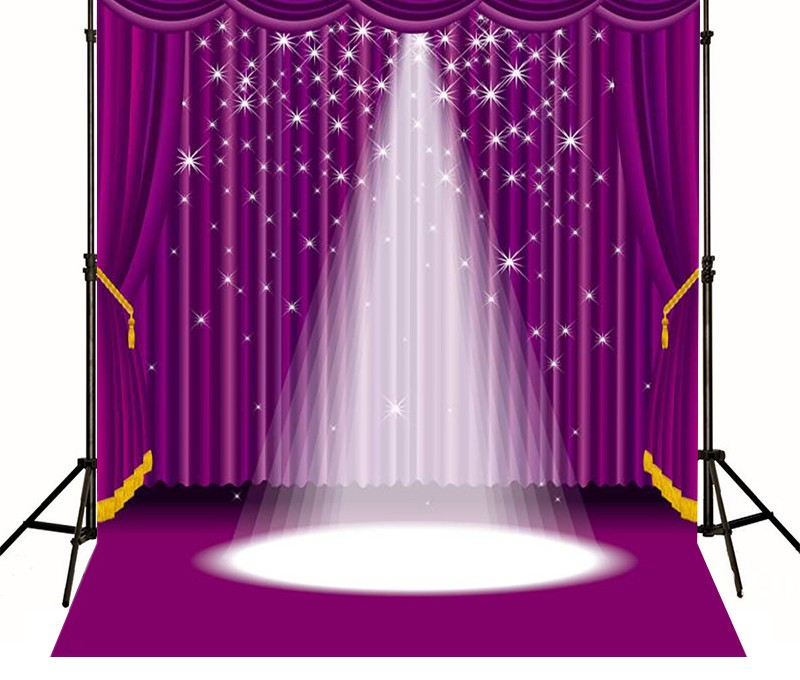 Purple Lighting Stage Curtain Star Photography Backgrounds
