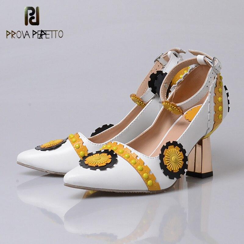 Simples Style Talon Chaussures Nouveau En Femme Patchwork Vache Cuir Bout Pointu De Fleur Mode red 2018 Blue yellow Perfetto Daim Prova Haute tqXgxB88w