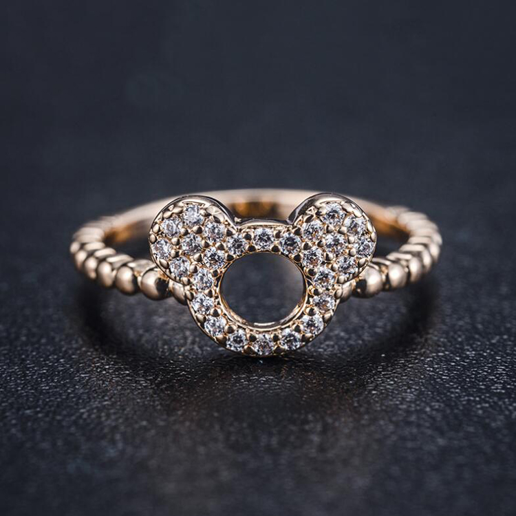 Fashion Micro Mosaic AAA+ Premium CZ Crystals Lovely Cartoon Mickey Ring Rose Gold and Silver Tail Rings for Women Jewelry