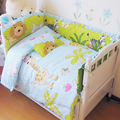 2017 New Infant Kids Baby Bedroom Nursery Bedding Crib Set, Zoo Pattern Cot Bedding Set for Newborn Baby Girls, Baby Bedding Set