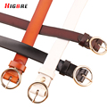 Senhoras Cintos de Metal Redondo Preto Para As Mulheres Designer de Marca Das Mulheres de Alta Qualidade Cintos de Couro Genuíno Com Fivela Cinturones Mujer