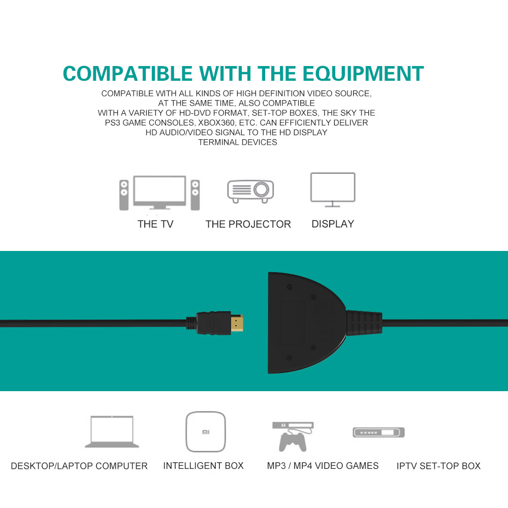 High Quality HDMI Switcher Switch Splitter Hub with Cable for PC TV ...