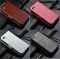 Para a apple iphone 5 5s se caso tampa flip carteira de couro genuíno para iphone 5 5s se com a função de suporte de três titular do cartão marrom