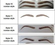Free shipping  2 pair/lot Top qualit  natural eyebrowFree shipping dark brown color woman false eyebrows human made hand