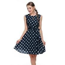 Meaneor 2017 sexy vestido summer dress dot print chiffon elegant casual bow dress women dresses White, Pink, Blue, Black