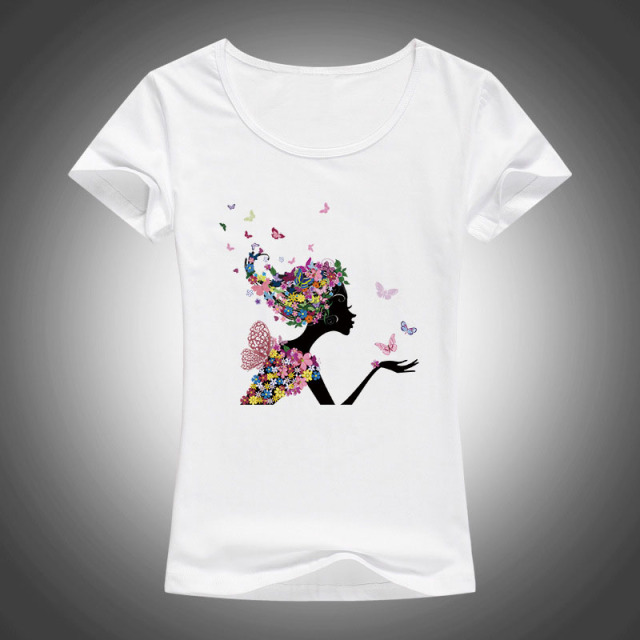 7e11cfce Creative design Flower Butterfly flowers Girl Printed T shirt Women Fashion Short  Sleeve Tops t-shirt Tee Shirts F79