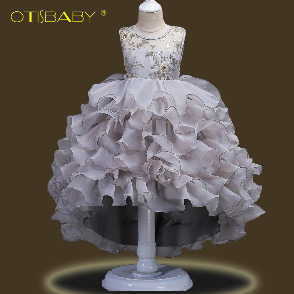 Image 4 - Fancy Children Elegant Dresses for Girls Teenagers Clothing Party Ball Gown Christening Layered Tutu Tulle Dress Peacock Costume-in Dresses from Mother & Kids