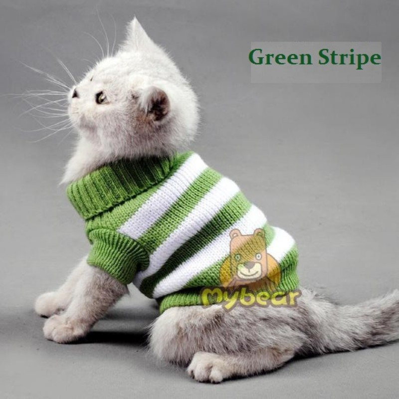 e863521a8 جديد الكلب القط الملابس الحلوى شريط اللون الدافئة القط سترة الحيوانات  الأليفة البلوز القط الملابس للحيوانات الاليفة الصغيرة XS S M L XL