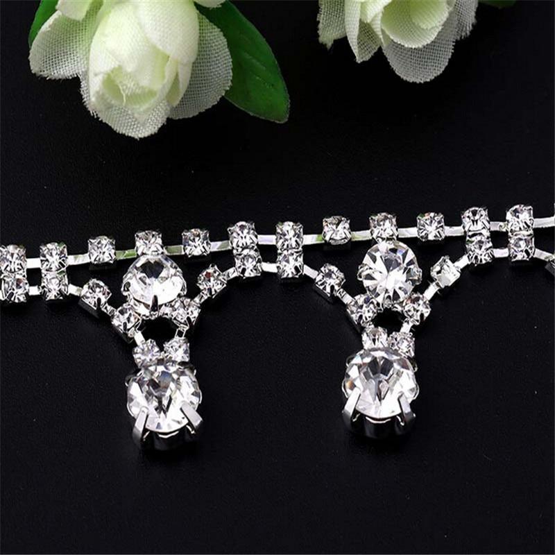 1Yd DIY Jewelry Accessories Chain Flower Rhinestone chain Headbands Handmade Hair Jewelry Factory Direct Material
