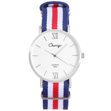 Model Colourful Nylon Strap Ladies Watch Geneva 40mm Easy Design Lady Watch Silver Chaxigo Quartz Watch Present For Girl In Inventory