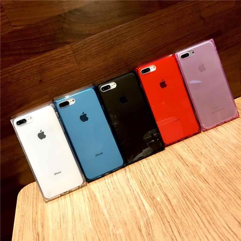 ソフト赤透明正方形電話ケース iphone Xs 最大 Xr × 7 8 プラス落下防止耐衝撃シェルキャンディー黒ホワイト Tpu ケース