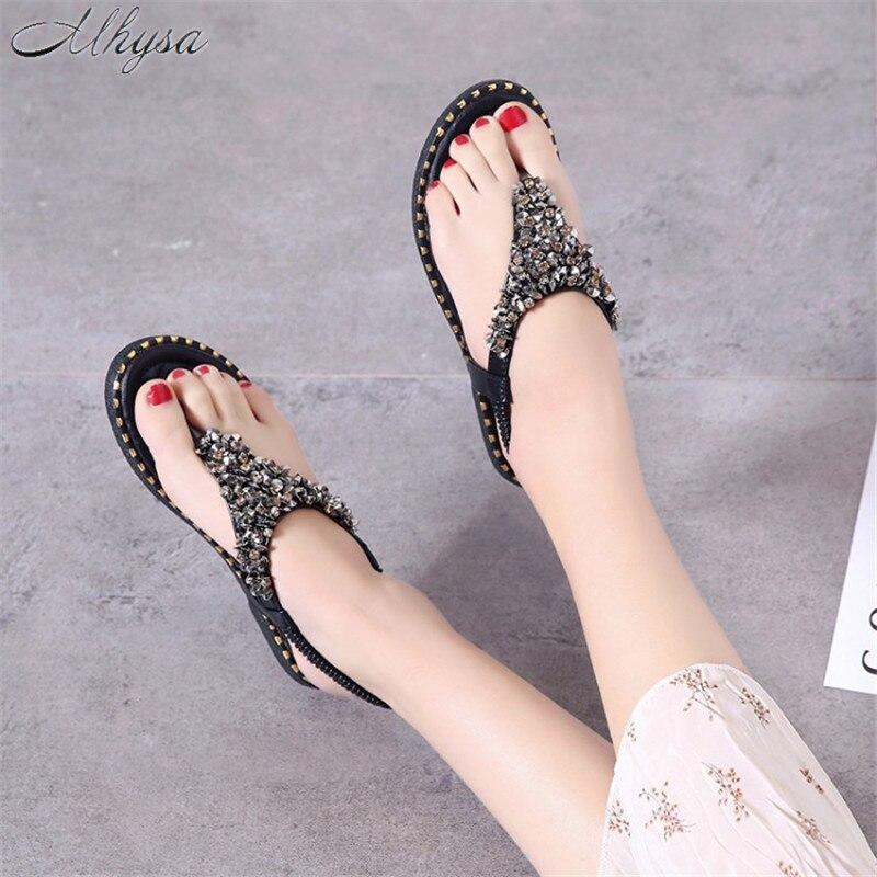 Schuhe Suche Nach FlüGen Mhysa 2019 Frauen Sandalen Frauen Sommer Mode Flip-flop Elastische Band Schuhe Flache Strass Bling Kappe Strand Frauen Sandalen T112