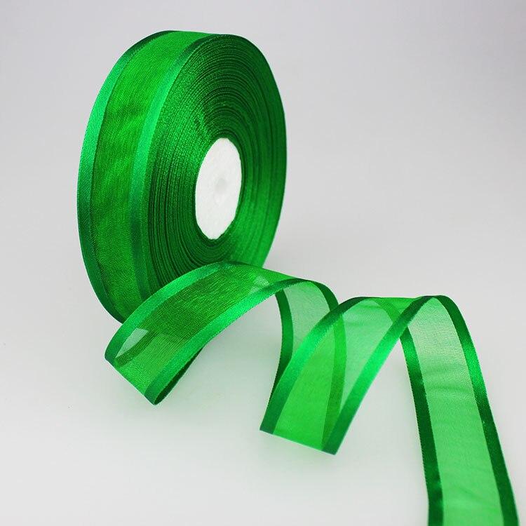 (50 ярдов/партия) 1′ (25 мм) зеленый органза ленты с залпом оптовая/день рождения и рождественские подарки упаковка украшения ленты