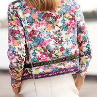 BEFORW Print Retro Outerwear Tribal Women Coats Cardigan Office Ladies Floral Elegant Jacket Harajuku Long Sleeve