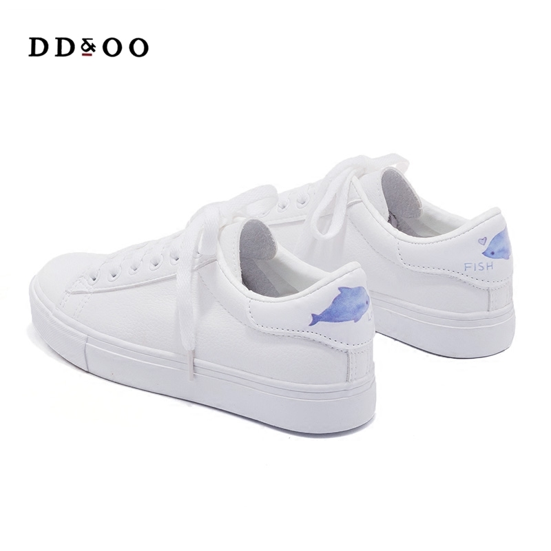 2018 spring new fashion shoes woman casual high platform PU leather animal simple women casual animal white shoes sneakers high