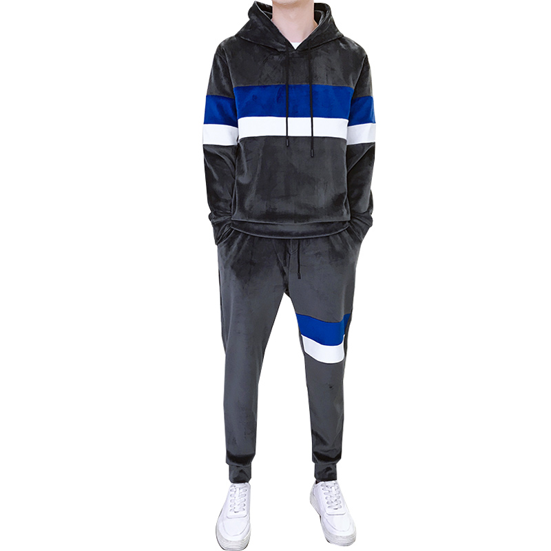 Loldeal Mens Velour Tracksuit Men Tracksuit Sporting Suits Embroidery Hoodies+Pants Casual Fashion Sweatshirt Sweat Suit