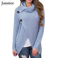 Womens Wrap Turtleneck Sweater Button Long Sleeve Chunky Knitted Asymmetrical Pullover Tops Solid Plus Size Knitted Sweater
