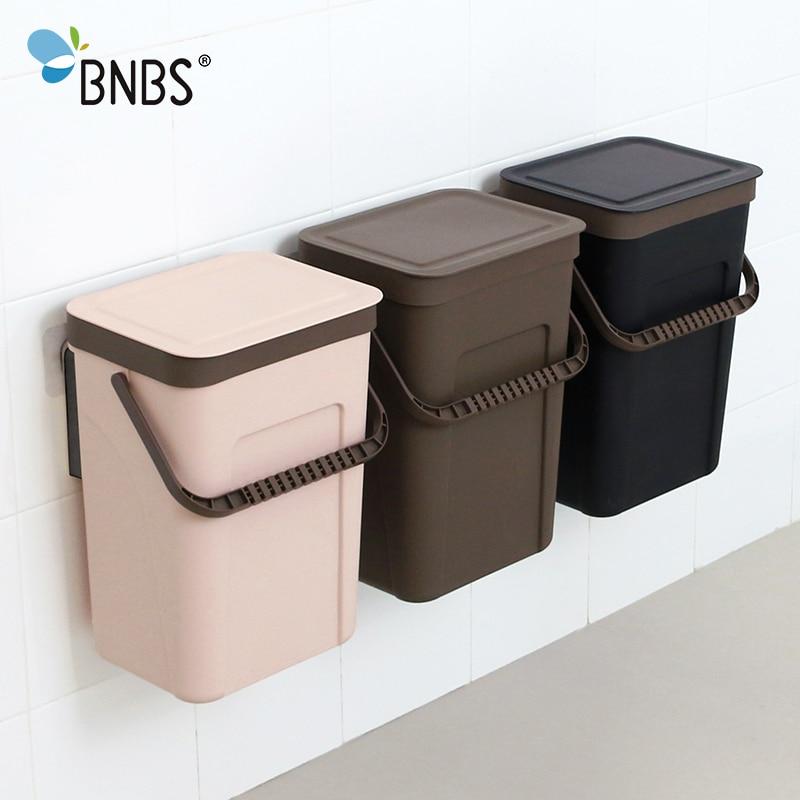 Image 5 - BNBS Trash Can Kitchen Wall Mounted Garbage Bin Gift Garbage Bag  Zero Waste Recycle Compost Bin Trash Bathroom DustbinWaste Bins   -