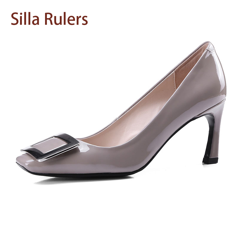 Silla Rulers 2018 Fashion Spring Autumn Women Single Shoe Square Toe Thin Heel Pump Metal Buckle Shallow Office Lady Dress Shoes new 2016 factory matte shoe women pointed toe red bottom low heel pump lady single ol work career spring fall shoes 678 2suede