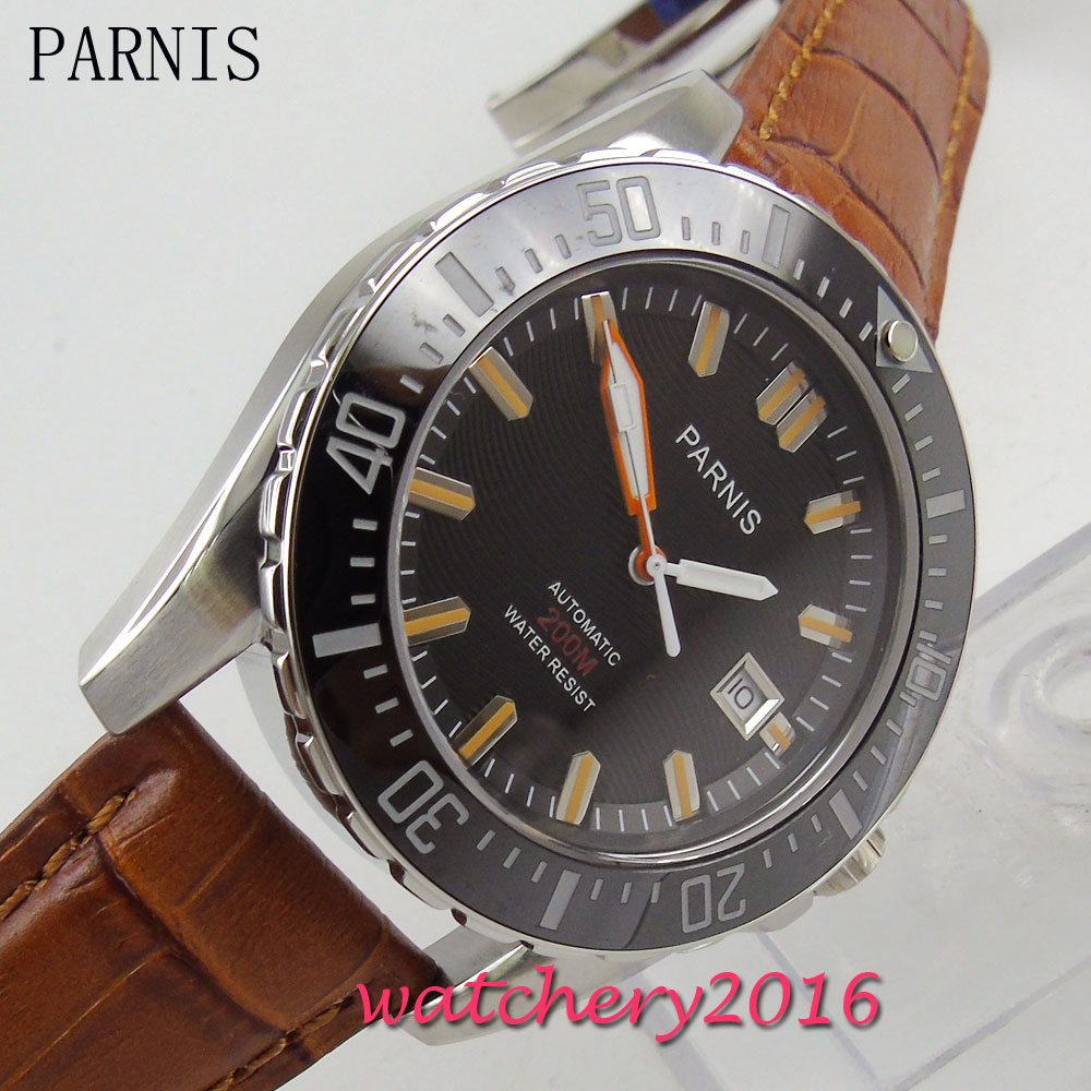 Newest Hot Parnis 43mm black dial black ceramic bezel top brand Luxury Sapphire Glass 20atm Automatic Mechancial Men's Watch 2016 hot sale green piece atm bezel fits anti skimmer skimming device atm parts fast delivery