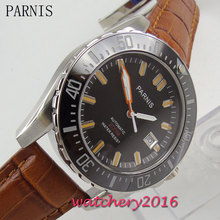 Newest Hot Parnis 43mm black dial black ceramic bezel top brand Luxury Sapphire Glass 20atm Automatic Mechancial Men's Watch