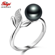 Feige Fine Jewelry Real 925 Sterling Silver Ring 7-8mm Black Freshwater Pearl Rings for Women Vintage Style Accessories Anillos feige simple style real 925 sterling silver pendant necklaces 7 8mm white freshwater pearl necklace for women fine jewelry