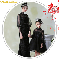 Mother and Daughter Clothes for Wedding Party Lace Mom and Daughter Evening Dress Elegant Family Matching Clothing Outfits