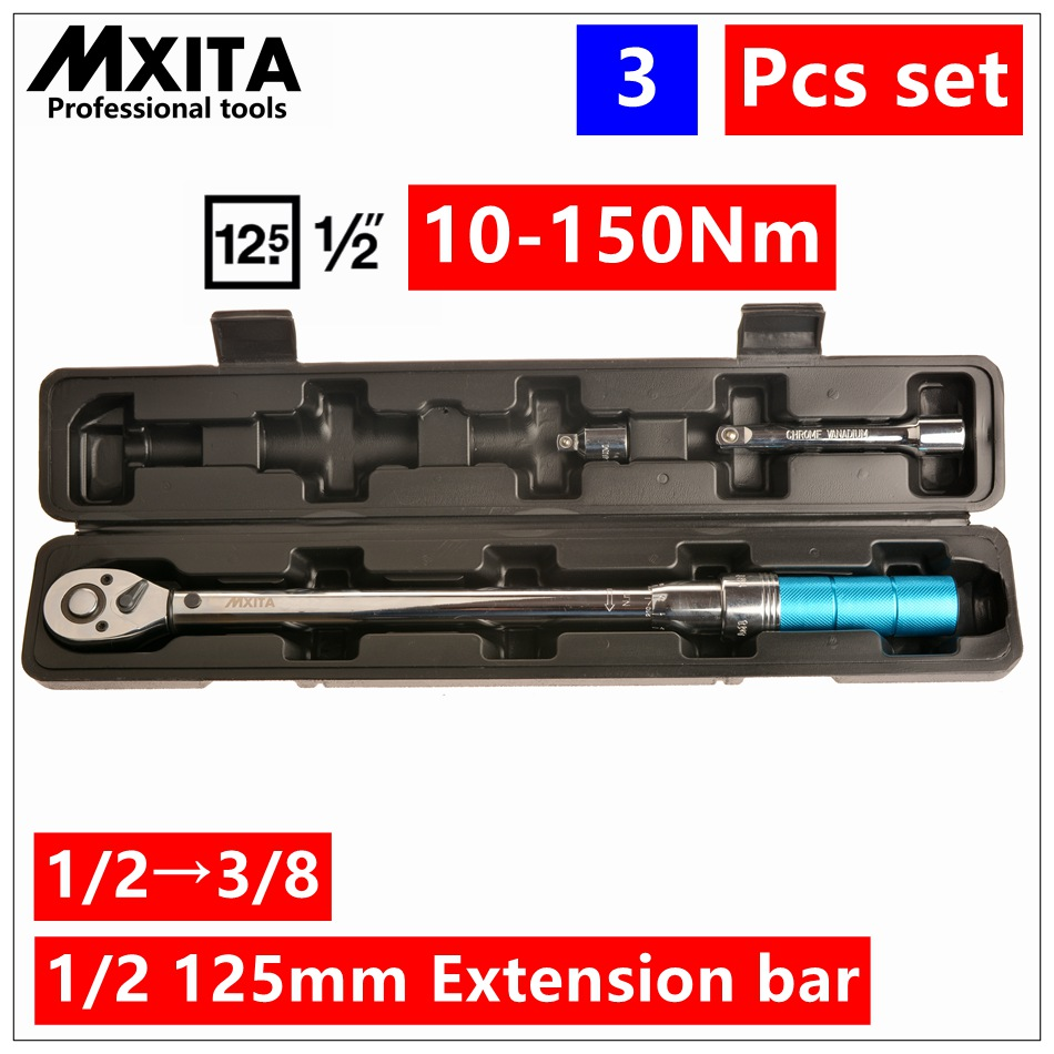 3PCS 1/2 Driver Click Adjustable Micrometer Torque Wrench Hand Tool Spanner High Quality mxita 1 2 5 60n adjustable torque wrench hand spanner car wrench tool hand tool set