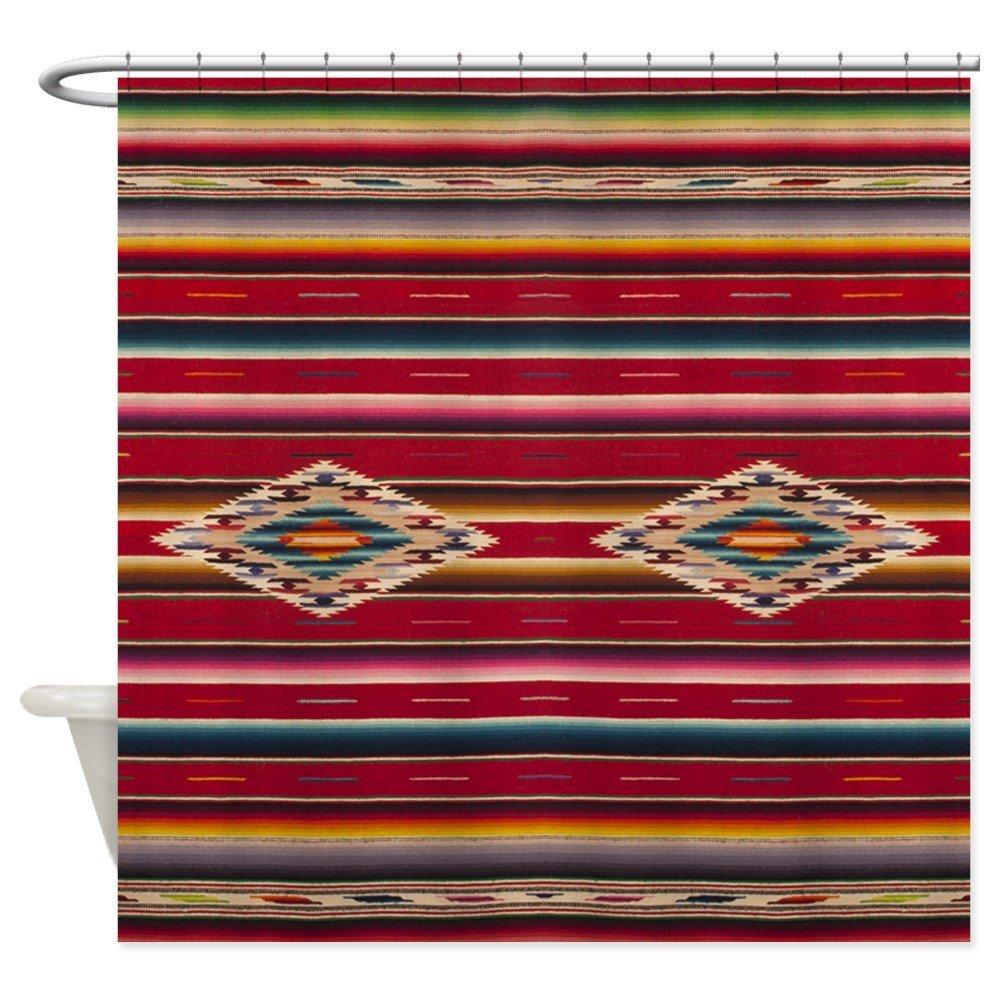 Southwest Red Serape Saltillo - Decorative Fabric Shower Curtain (69x70)
