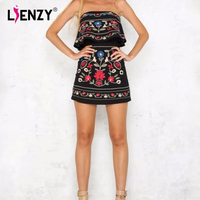 LIENZY 2018 Summer Sexy Off The Shoulder Flaral Print Dress Women Sleeveless Sexy Backless Long Maix