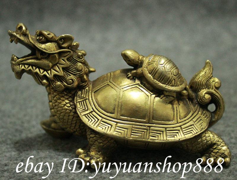 Folk Chinese Brass Fengshui Longevity Shou Dragon Turtle Tortoise
