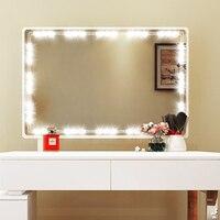 DIYสไตล์ฮอลลีวู้ดLEDแสงกระจกกับสัมผัสหรี่และแหล่งจ่ายไฟกระจกส่องกระจกแต่งหน้าไฟLEDสำหรับโต๊...