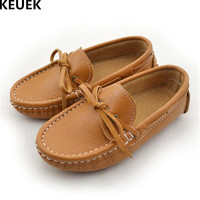 New Children Single Shoes Baby Toddler Leather Shoes Boys Girls Genuine Leather Casual Loafers Student Moccasins Kids Flats 02