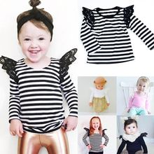 Toddler Kids Baby Girls Lace Casual Long Sleeve T-shirt Tee Tops Clothes