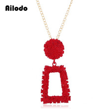 Ailodo Vintage Fashion Necklace For Women Gold Color Sweate Chain Geometric Pendant Statement 2019 Trendy Jewelry LD170