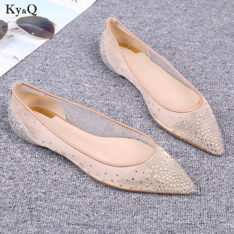 2019 Summer New Womens Fashion Trend Pointed Breathable Shallow Mouth Mesh Rhinestones Comfortable Casual Wild Flat Shoes2019 Summer New Womens Fashion Trend Pointed Breathable Shallow Mouth Mesh Rhinestones Comfortable Casual Wild Flat Shoes
