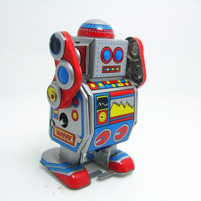 Classic collection Retro Clockwork Wind up Metal Walking Tin Band DJ measure robot recall Mechanical toy kids christmas gift