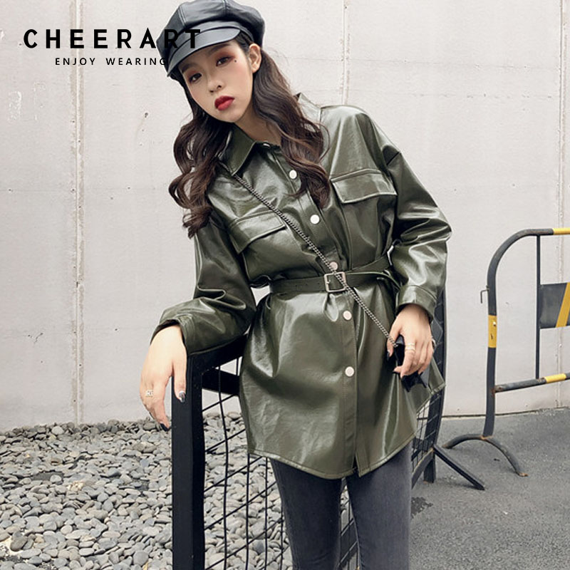Cheerart Vert Veste En Cuir Femmes Ceinture Longue En Cuir Veste Boutons Lumineux Longue En Cuir Manteau Femme Veste Automne 2018 Vêtements