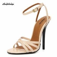LLXF Unisex SM Stilettos Yaz Gece Kulübü pompalar 14 cm ince yüksek topuklu ayakkabılar kadın düğün çapraz kayış Bayanlar Nedime sandalet