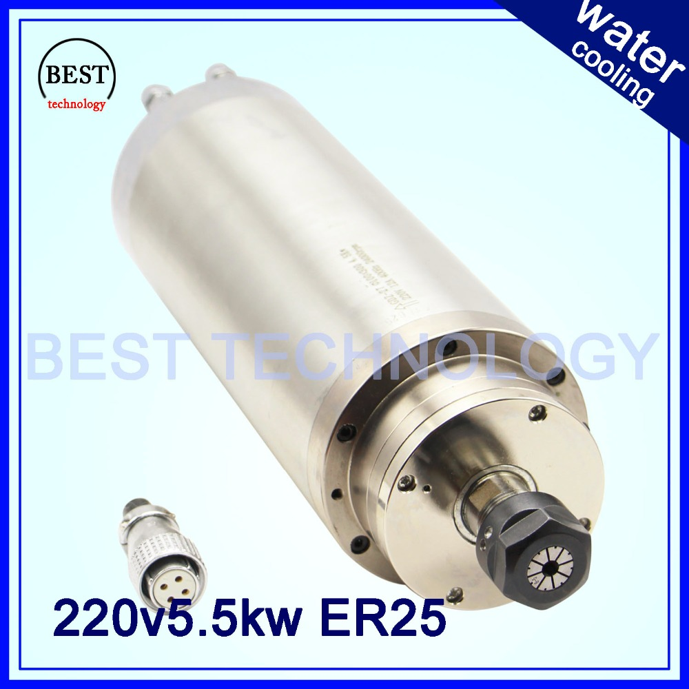 5.5 KW ER25 CNC Spindle motor Water Cooling for woodworking cnc Spindle water 380v / 220v AC 4pcs bearings High Speed 220v 1 5kw spindle motor water cooling motor cnc spindle motor machine tool spindle
