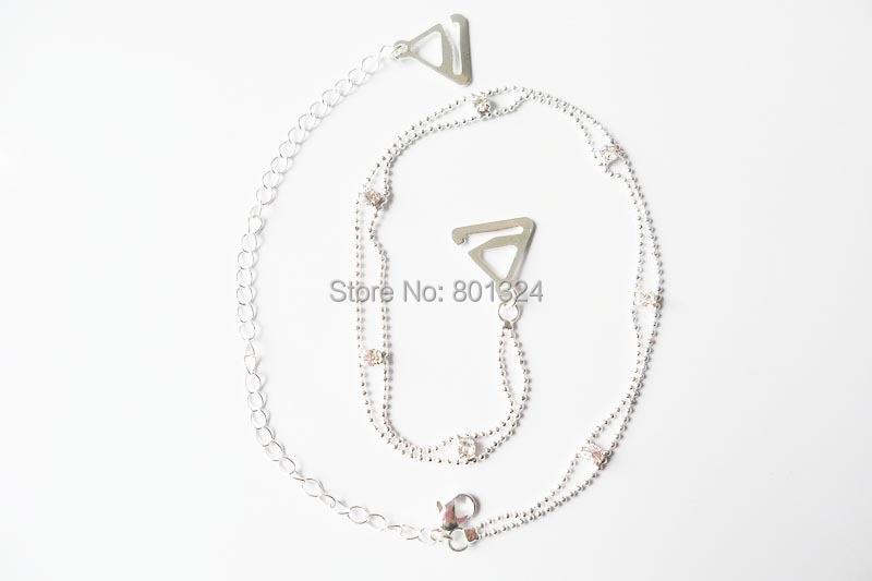 Metal Adjustable Silver Black Bra Shoulder Strap Rhinestone Bra Shoulder Strap Double Beads Clip Bra Underwear Shoulder Straps 2