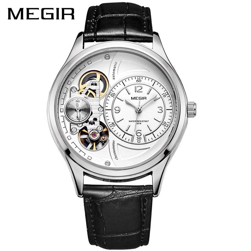 MEGIR hommes montre Top marque montres à Quartz de luxe Relogio Masculino cuir montre militaire horloge hommes Erkek Kol Saati ML2017