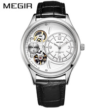 цена на MEGIR Men Watch Top Brand Luxury Quartz Watches Relogio Masculino Leather Military Watch Clock Men Erkek Kol Saati ML2017