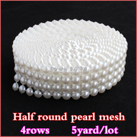 2014 Strass Crystal 4 Rows White Pearl No Rhinestone Trims Plastic Mesh Trimming Sewing For Decoration