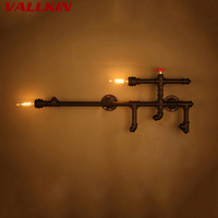 Loft Industrial Wall Light Iron Rust Water Pipe Retro Wall Lamp Vintage E27 Sconce Lights Home Lamps Lighting Fixtures lustres