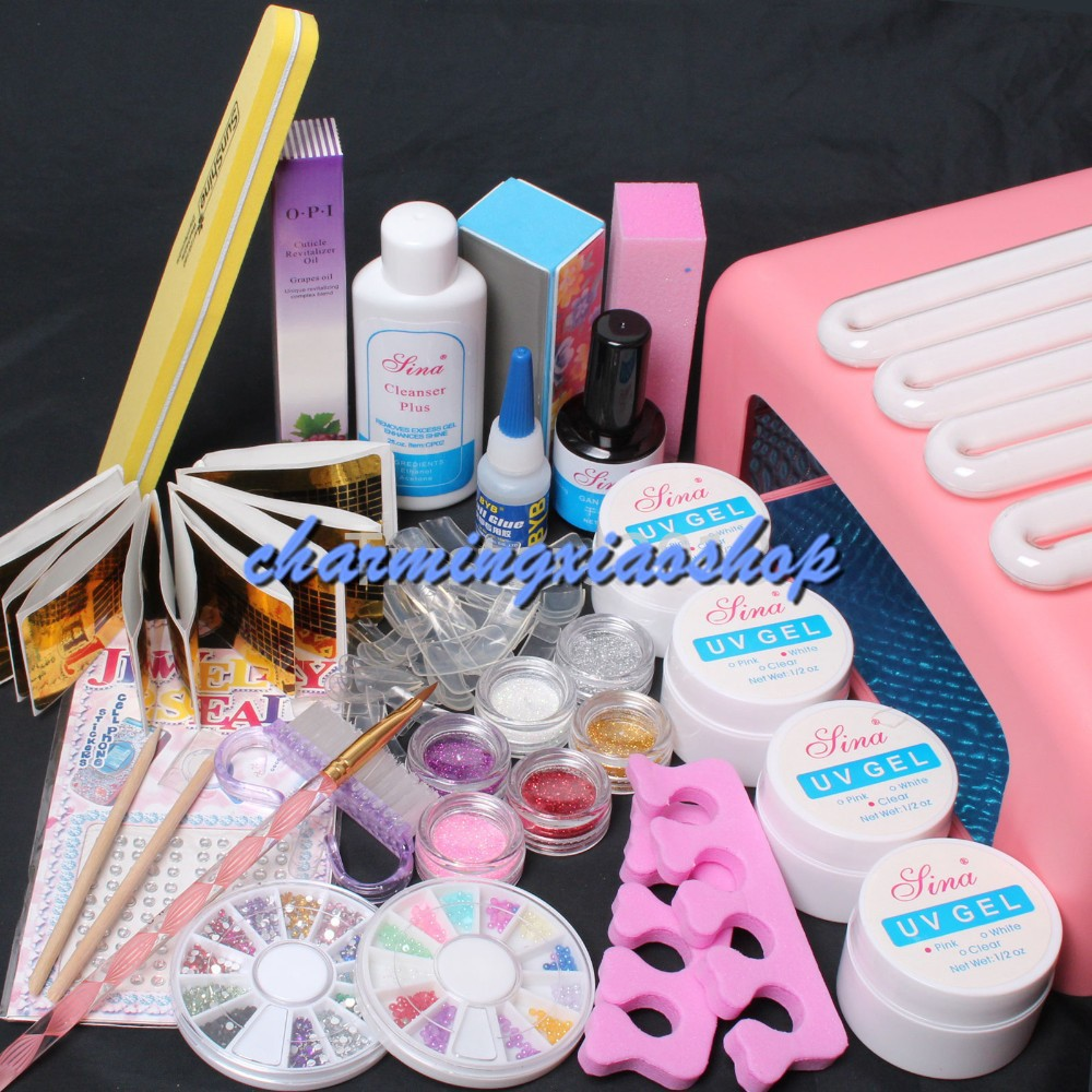 New 36W UV Dryer Lamp Timer Block Sanding French Nail Art Tips Gel Tools DIY Kit Gel Nail Kits With Lamp Manicure Set 34219