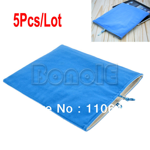 5Pcs/Lot Flannelette Soft Sleeve Case Cover Pouch Bag for ipad 2/3/4  9678