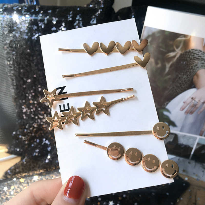 Korean Jewelry New Fashion Wild Metal Word Side Clip Girl Cute Bangs Clip Hair Accessories Baroque Coroa Wedding Decoration