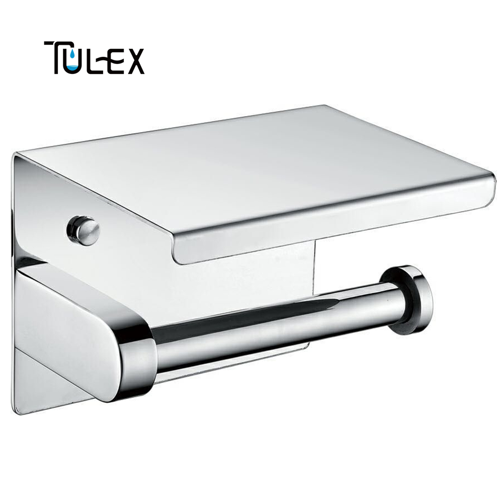 Tulex Toilet Paper Holder Wall Mounted with Shelf SUS304 Stainless Steel Chrome Bathroom Accessory Toilet Roll Holder 1pcs wall mounted stainless steel bathroom towel shelf holder adhesive force bathroom shelf pendant toilet roll paper hanging