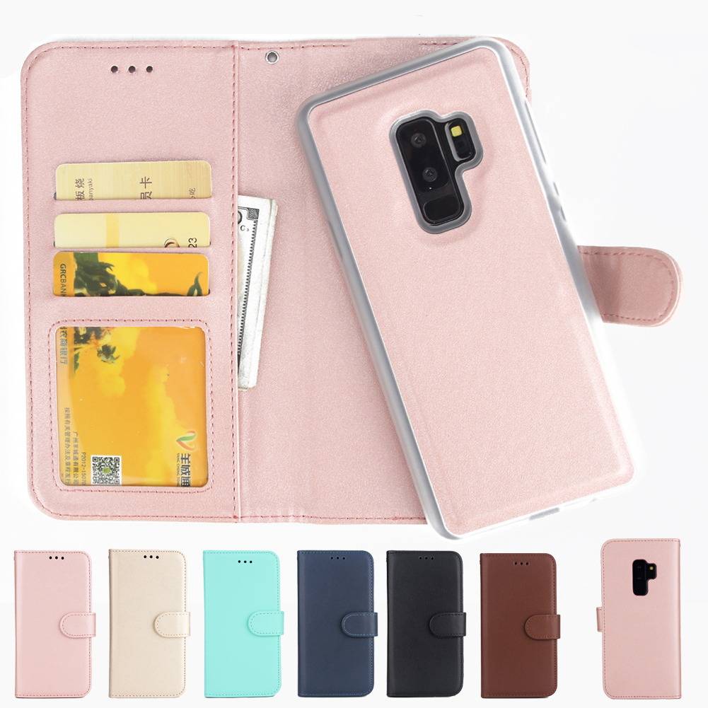 Mayround Luxury Flip Magnetic Removable Walle Case Purse Shockproof Bag Cover for Samsung Galaxy S9 Plus Leather Case